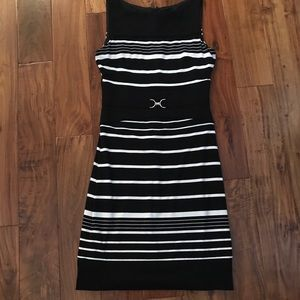 Black and White dress with silver buckle